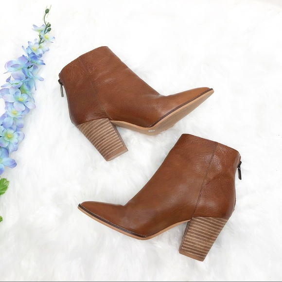 Adalan Tan Leather Ankle Boots